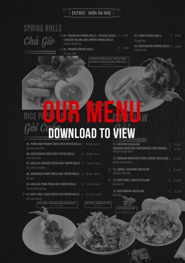 Thuan an Vietnamese restaurant sunshine Melbourne Menu